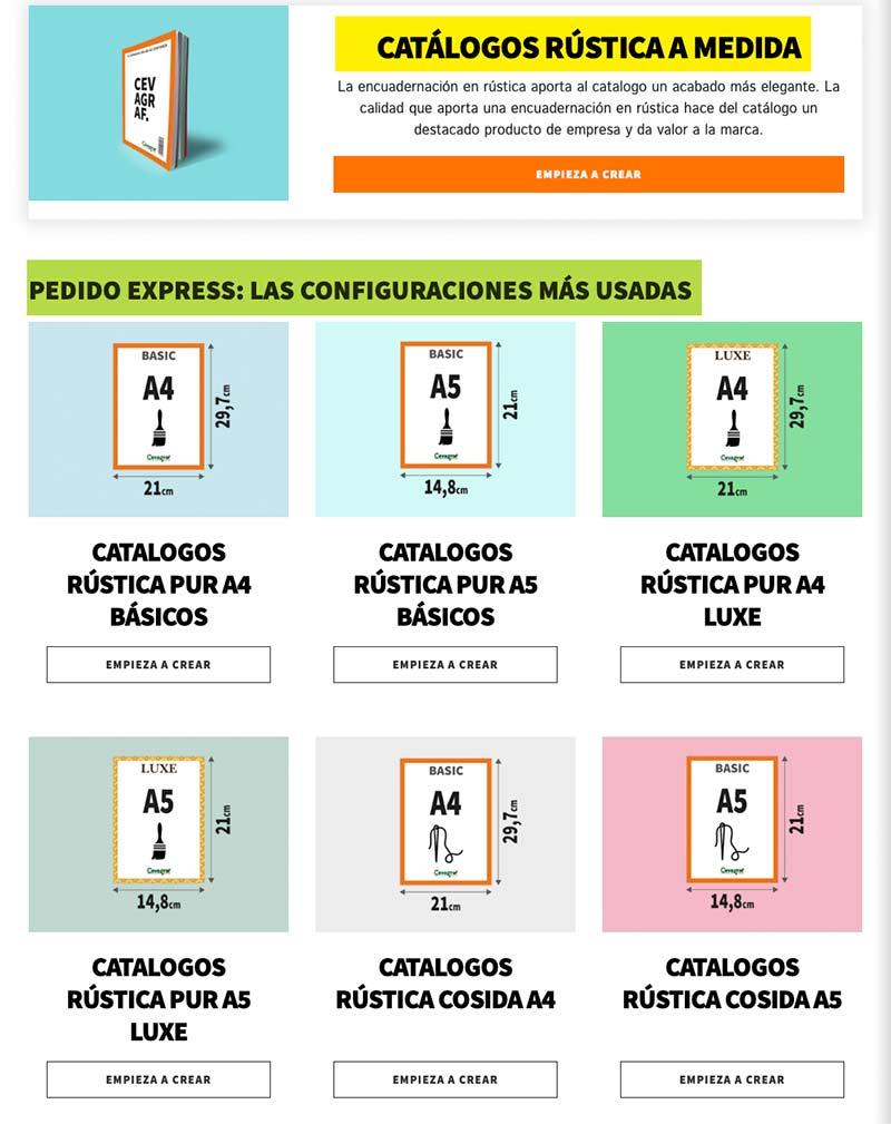 Pedido Express de productos de impresión en Cevagraf