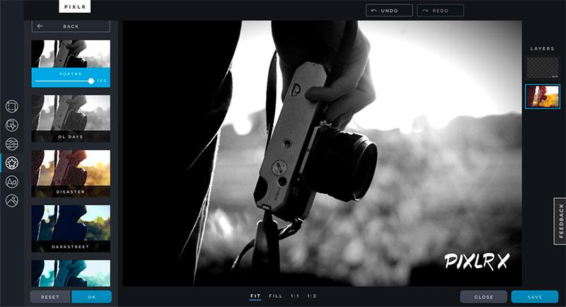 Pixlr x. Es un excelente editor de fotos