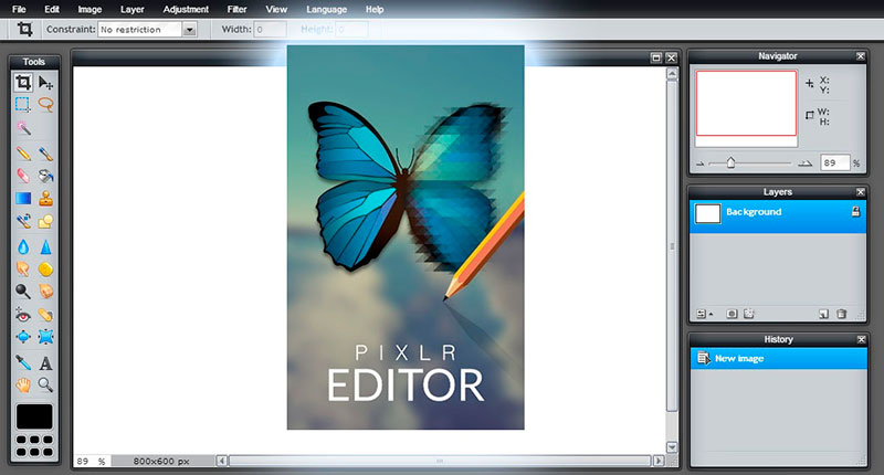 Pixlr Editor mejor para la edición avanzada en un navegador web