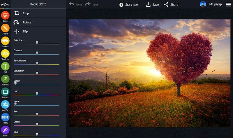 El editor de fotos online gratuito piZap está disponible en las ediciones HTML5 y Flash