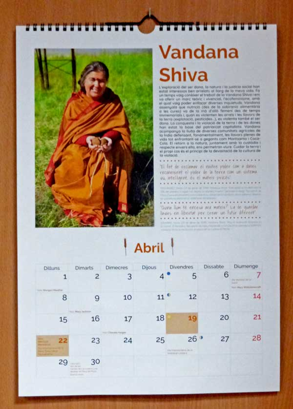 filigrana calendar vandana shiva