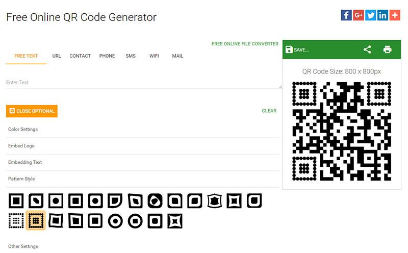 códigos de barras opciones