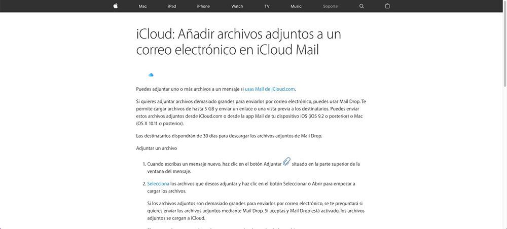 Mail Drop usa iCloud para cargar un archivo a la web y luego genera un enlace