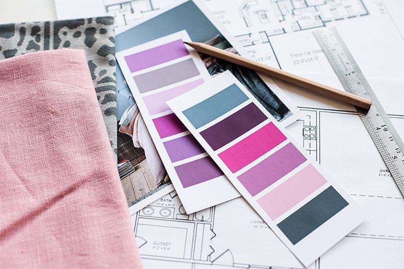 a incorporación de la paleta de colores del diseño es una parte importante de la mayoría de los Mood Boards