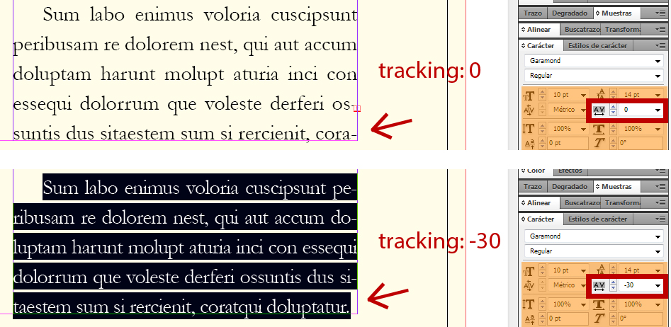 Encajar texto con tracking