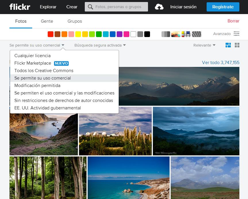 buscar fotos gratis en Flickr