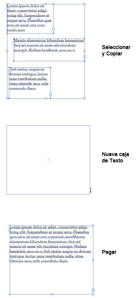 combinar bloques de texto