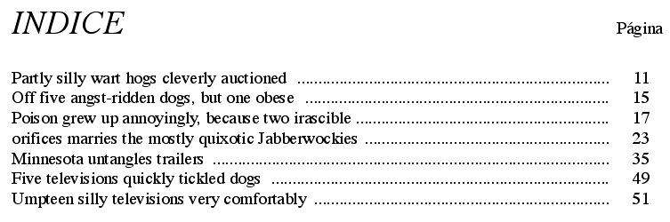 tabulaciones de índice
