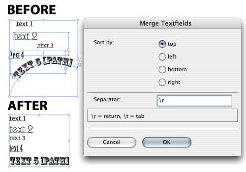 merge text script illustrator