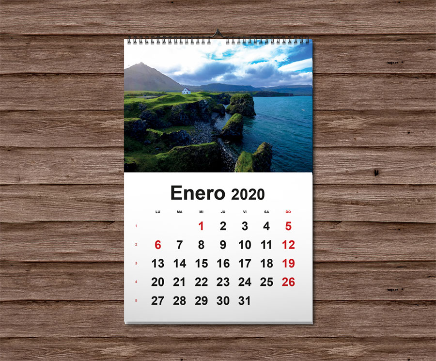 calendario de pared wireo 2020