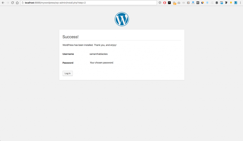 exito wordpress local