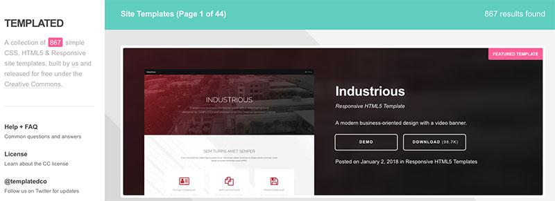 Amplia colección de más de 850 plantillas gratuitas CSS, HTML5