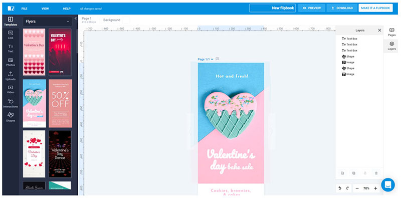 hacer folletos online con la herramienta Flipsnack