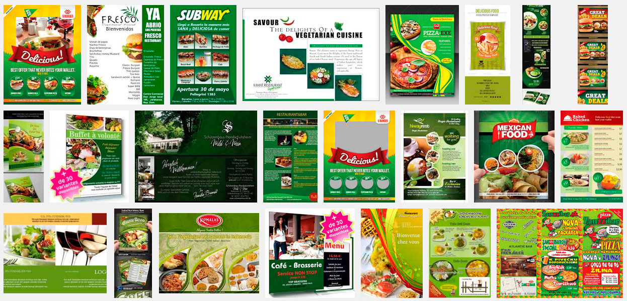 flyers restaurantes vegetarianos