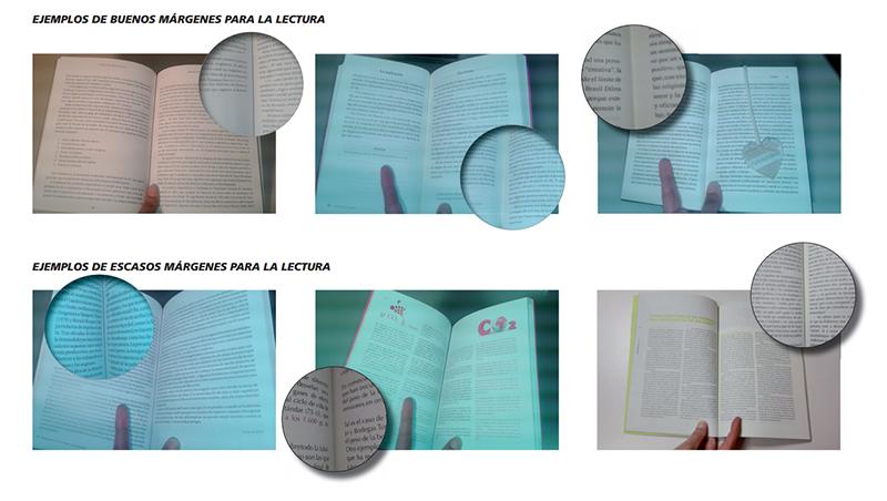 márgenes correctos e incorrectos para la impresión de libros