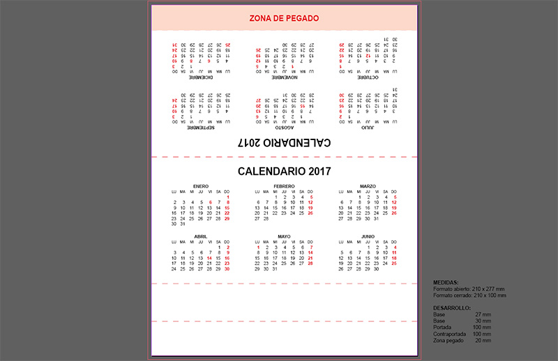 plantilla de calendario triangular de mesa 2017