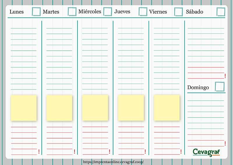 Organizadores Semanales Para Imprimir (PDF) | CEVAGRAF