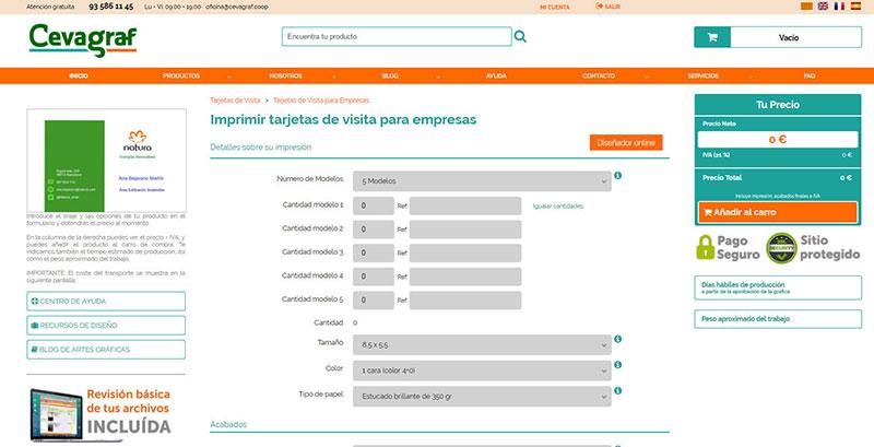 pantalla Cómo Hacer Tarjetas de Visita e Imprimirlas Online