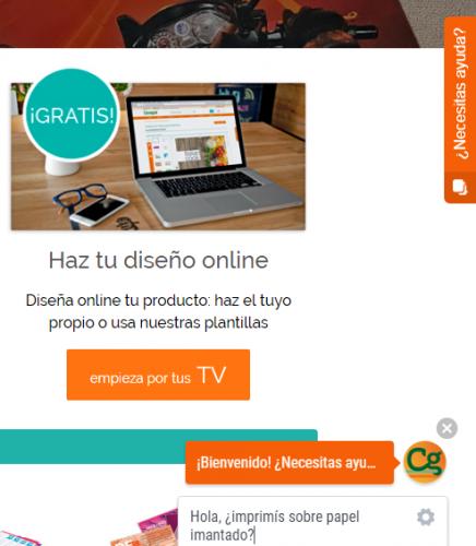 página web de Imprenta Online Cevagraf