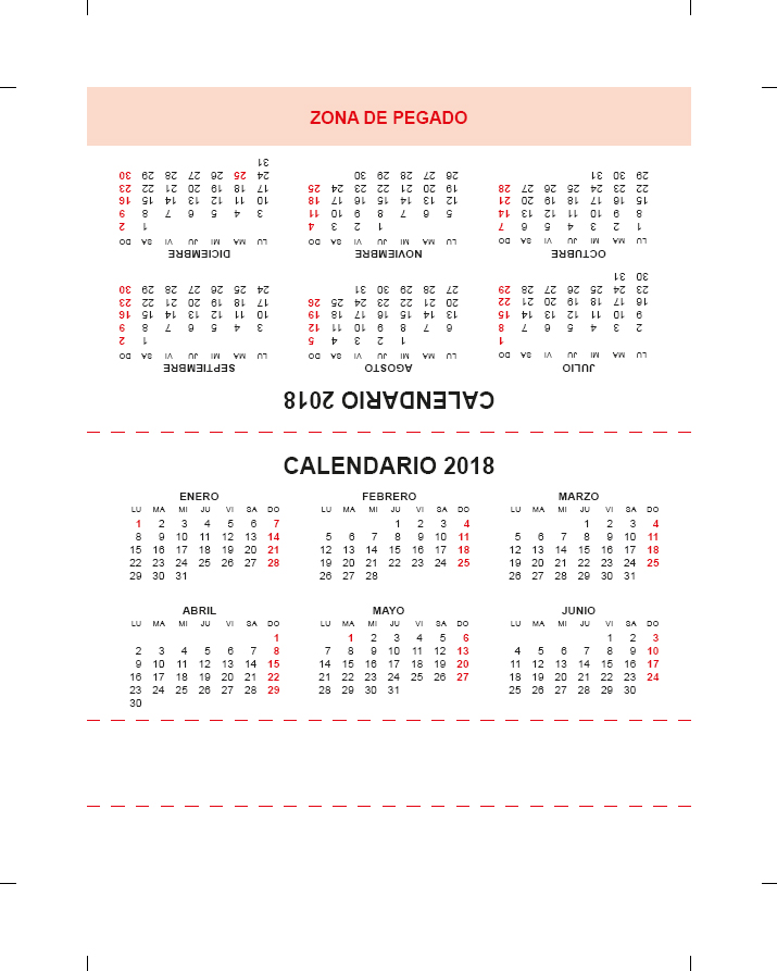 calendario triangular de mesa 2018 InDesign