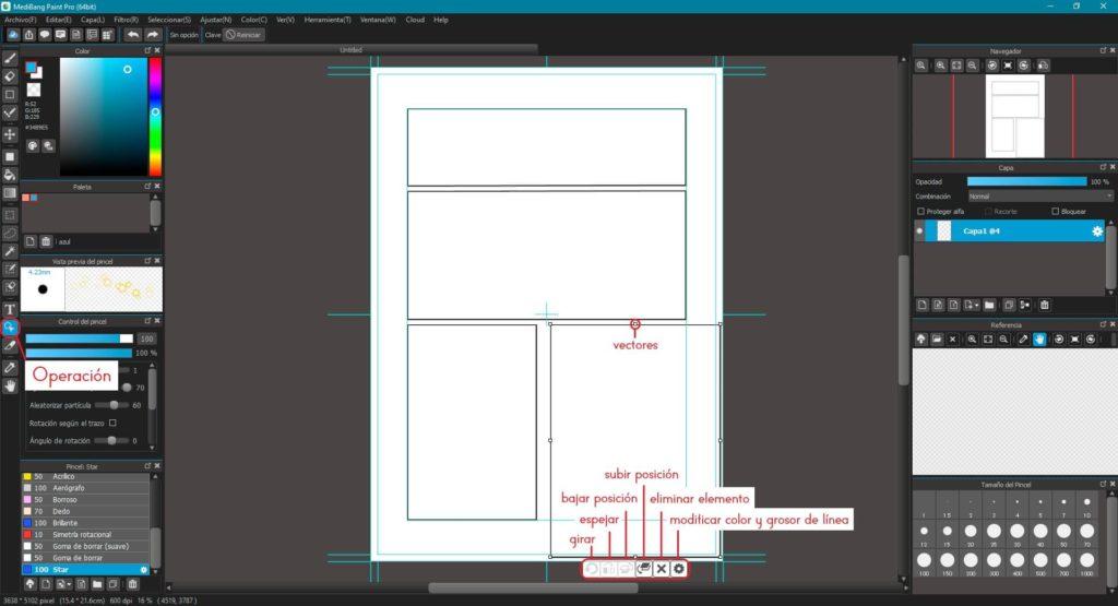 Con la herramienta Dividir, podras partir el recuadro de forma vertical y horizontal