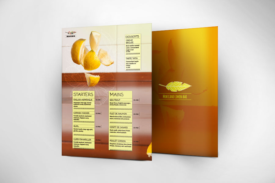 Print Restaurant Menu  - Mohicano Lemon