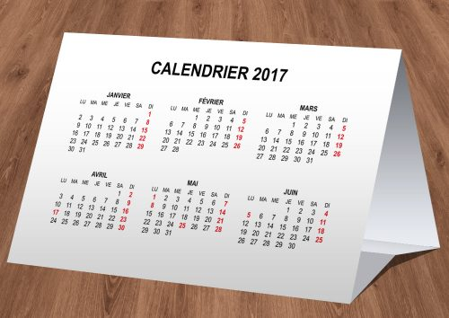Calendrier simple de table 2017