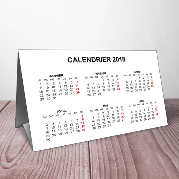 calendrier simple de table