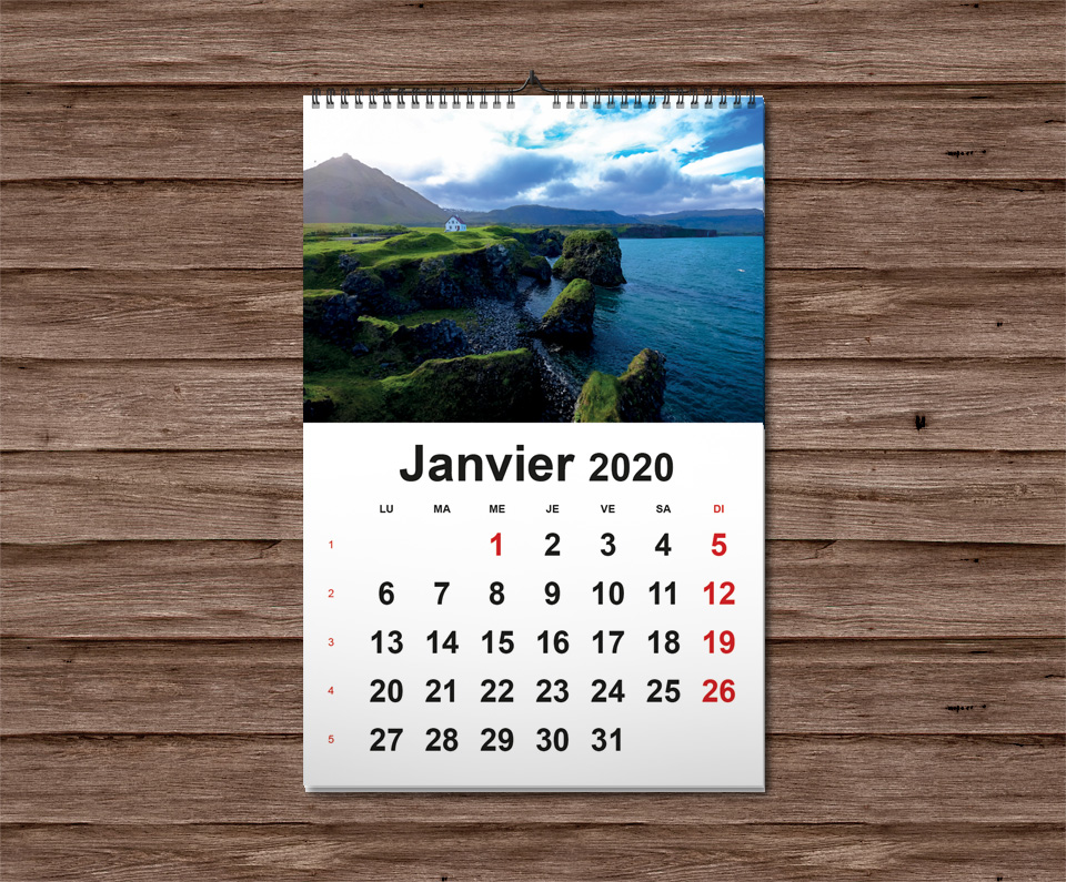 calendrier mural wireo 2020